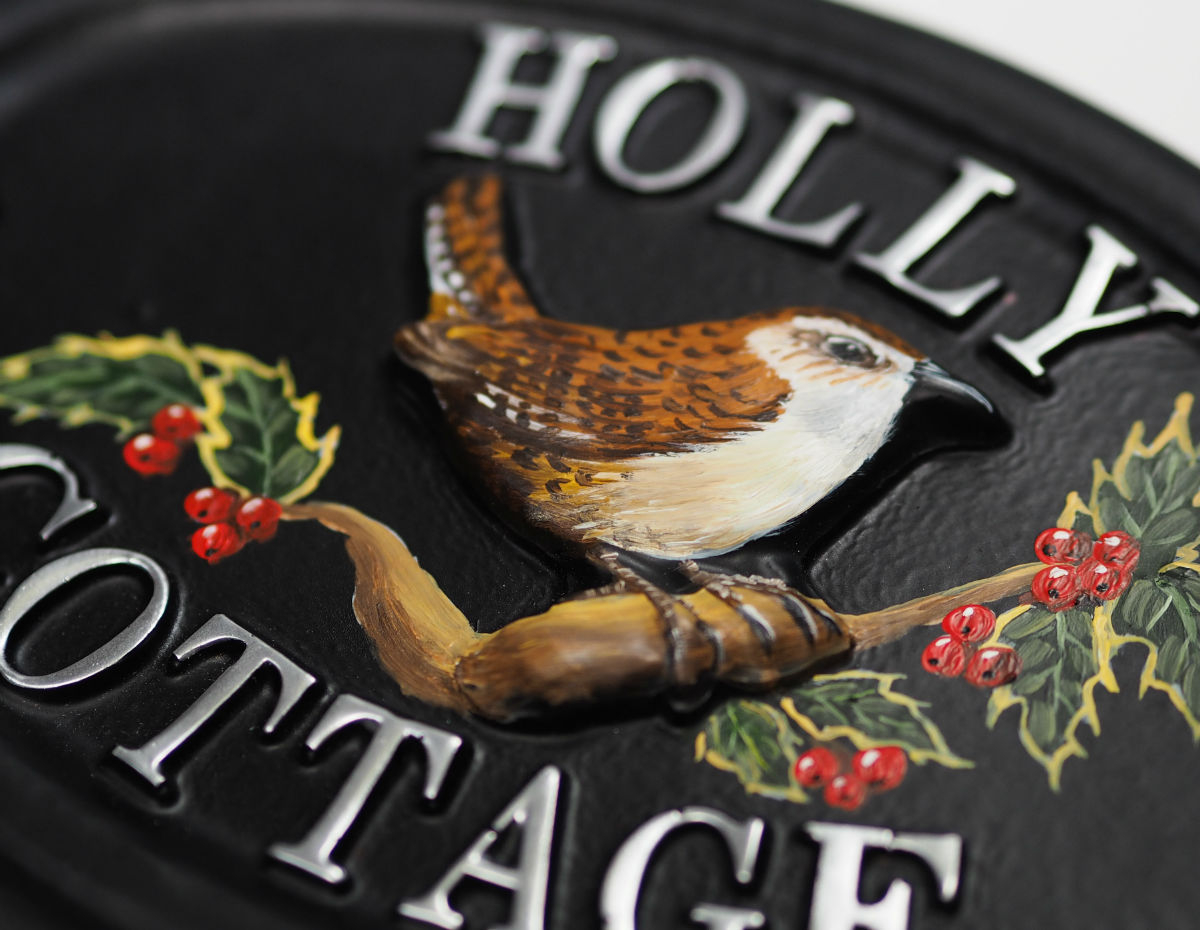 Wren Holly Close Up house sign