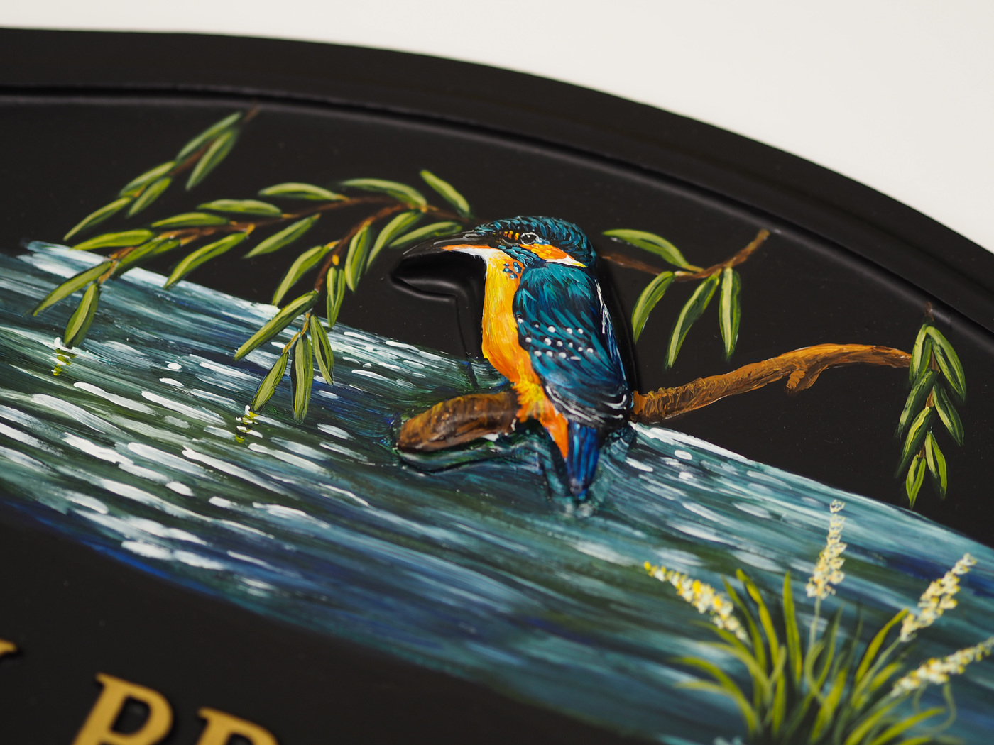 Kingfisher close-up. house sign