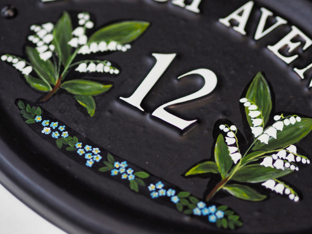 Lilly Of The Valley close-up. house sign