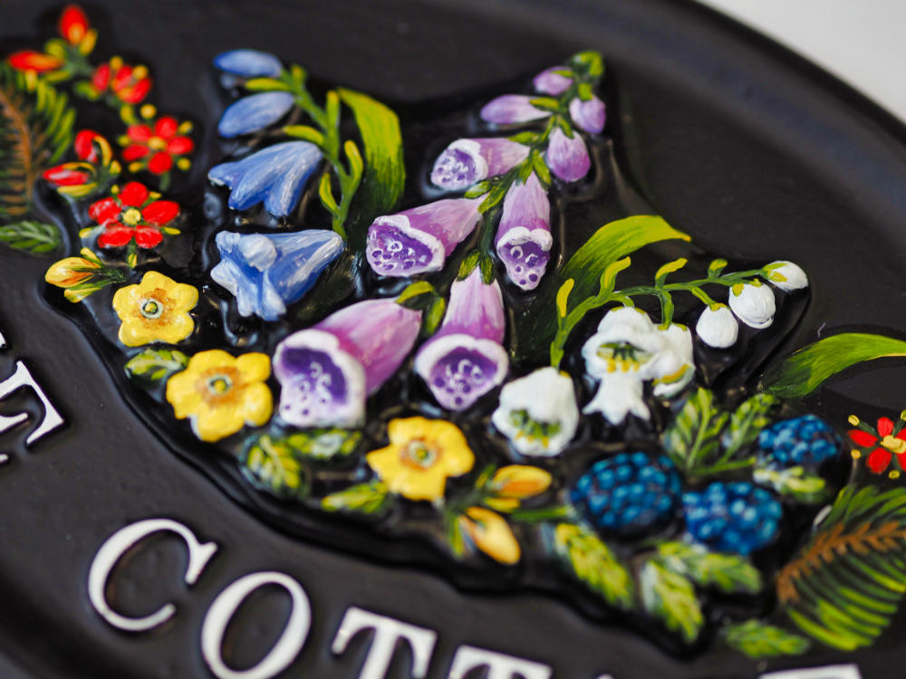 Wild Flowers close-up. house sign