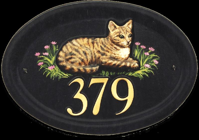 Cat Tabby house sign