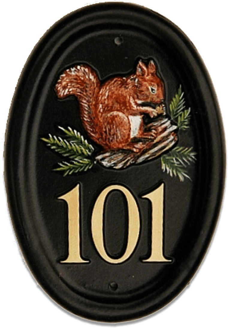 Squirrel Red On Log house sign