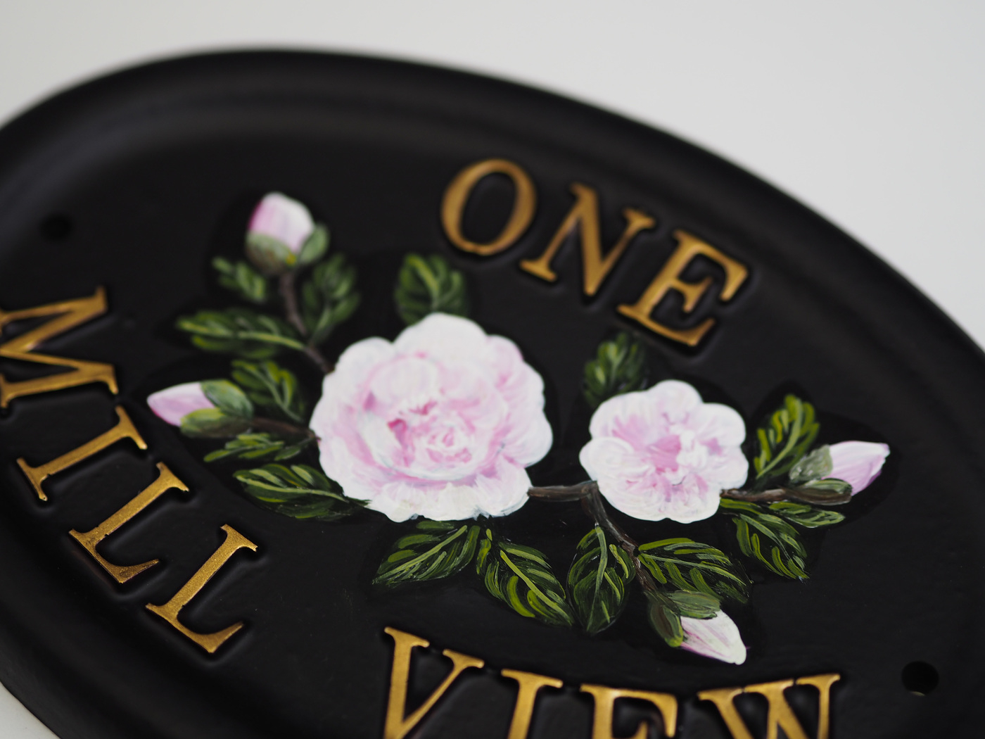 Camellia Flat Painted Close Up house sign