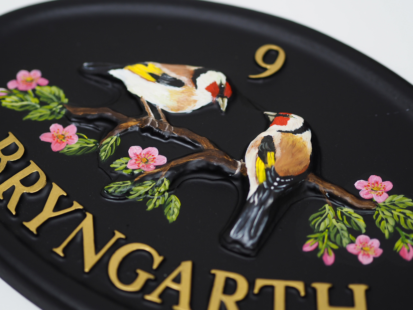 Goldfinches Close Up house sign