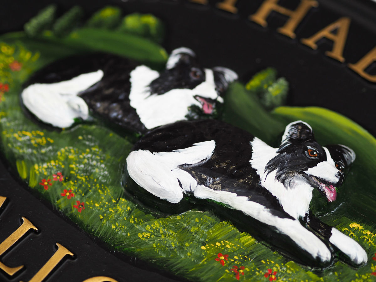 Border Collies Close Up house sign