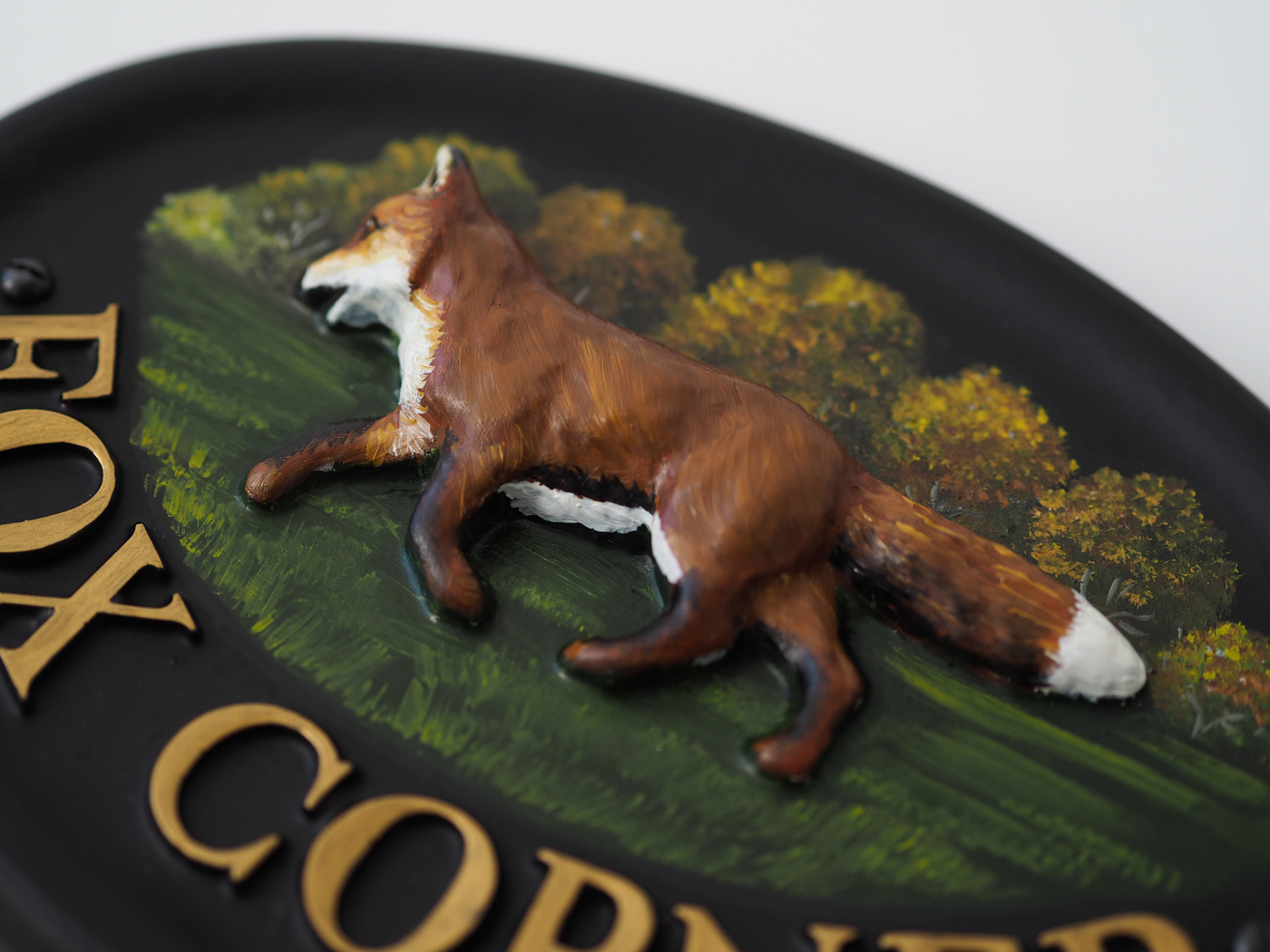 Fox Walking close-up. house sign