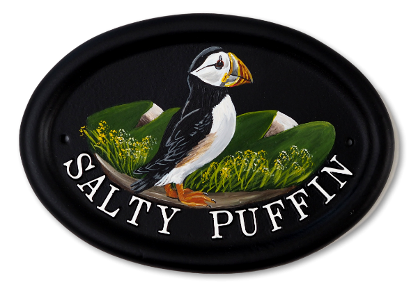Puffin Flat Painted house sign