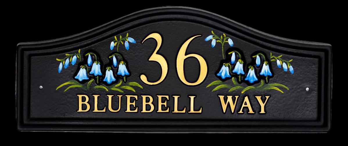 Bluebells Split house sign