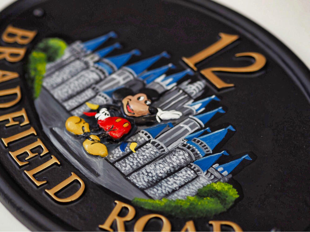 Mickey Mouse close-up. house sign