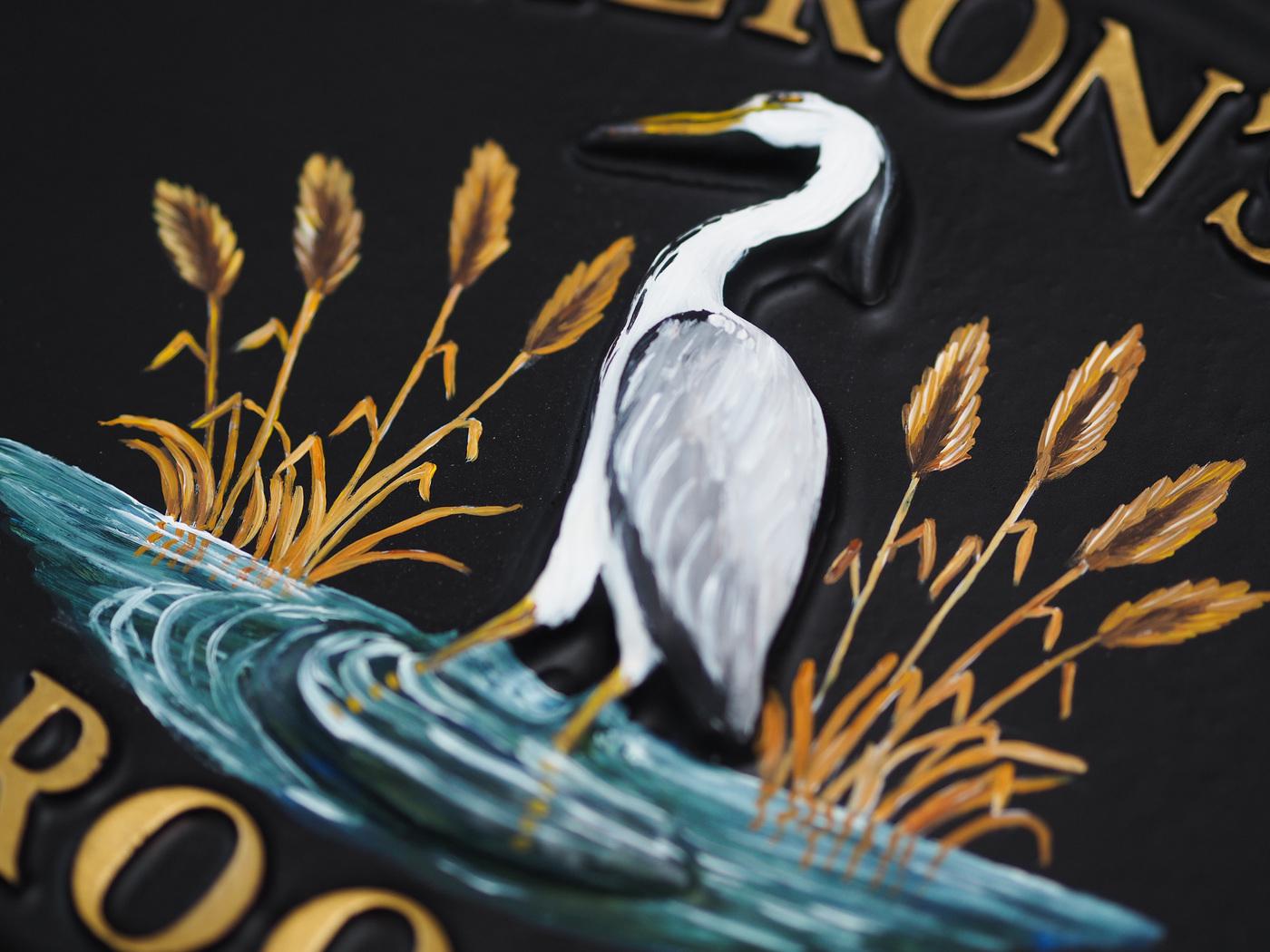 Heron Close Up house sign