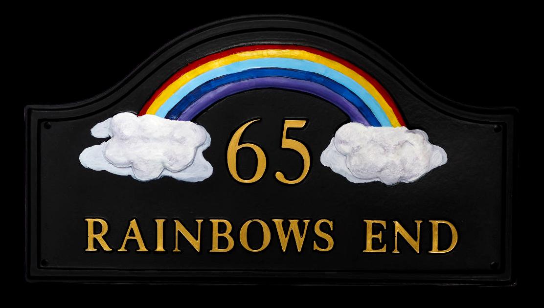 Rainbow house sign