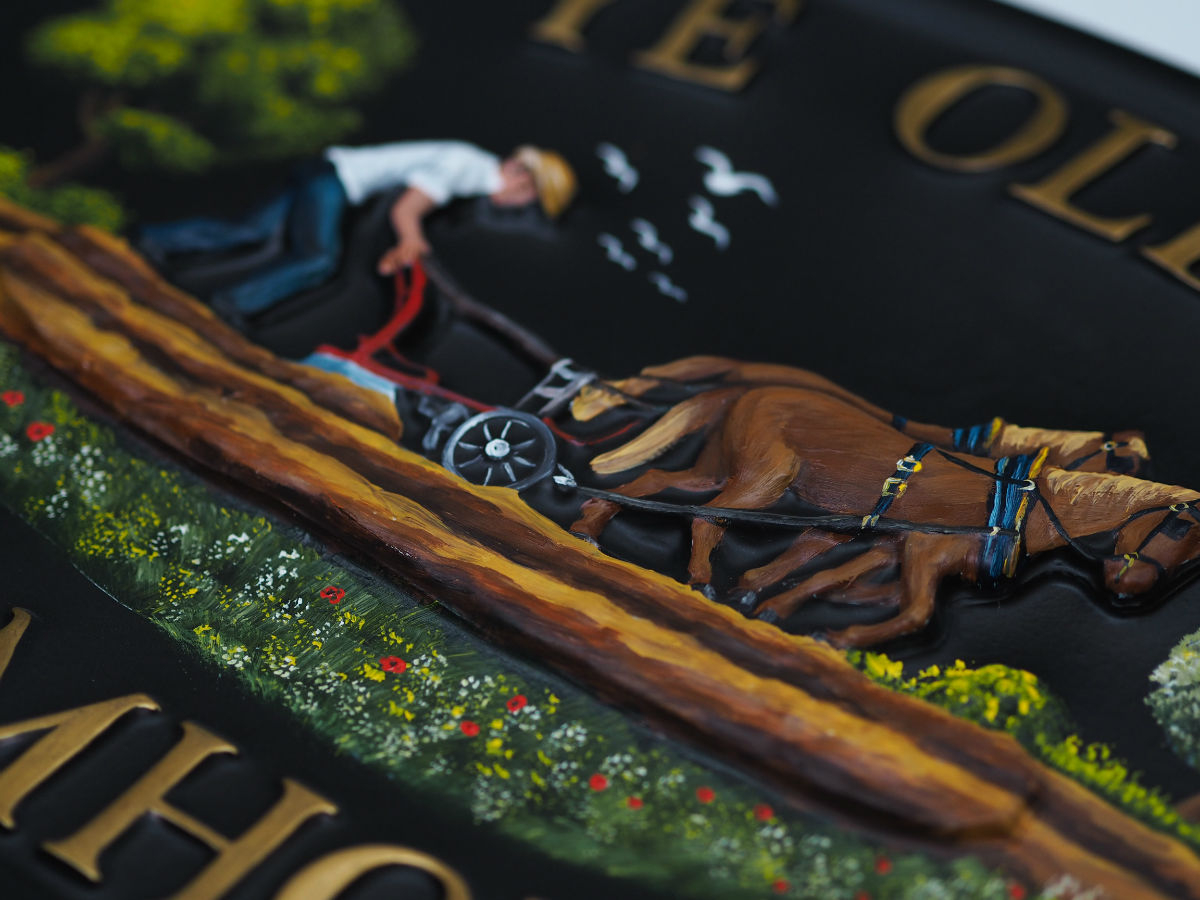 Horse & Plough Large Close Up house sign