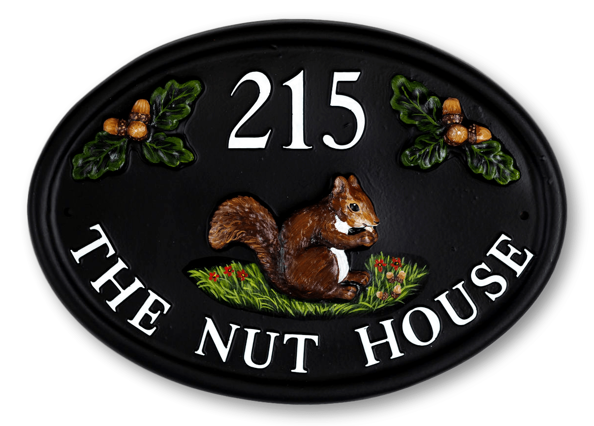 Squirrel With Acorns house sign