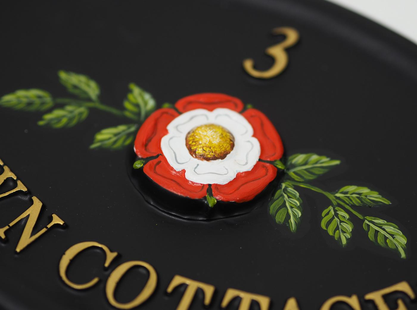 Tudor Rose Close Up house sign
