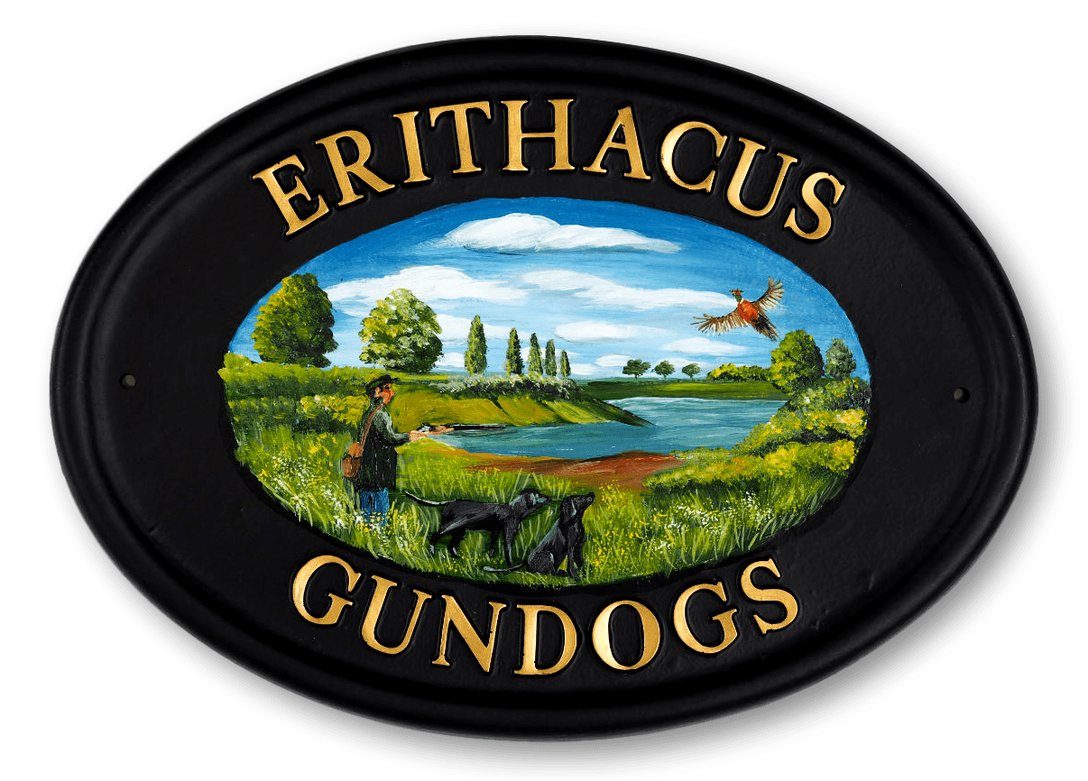 Shooting Scene & Labradors Flat Painted house sign