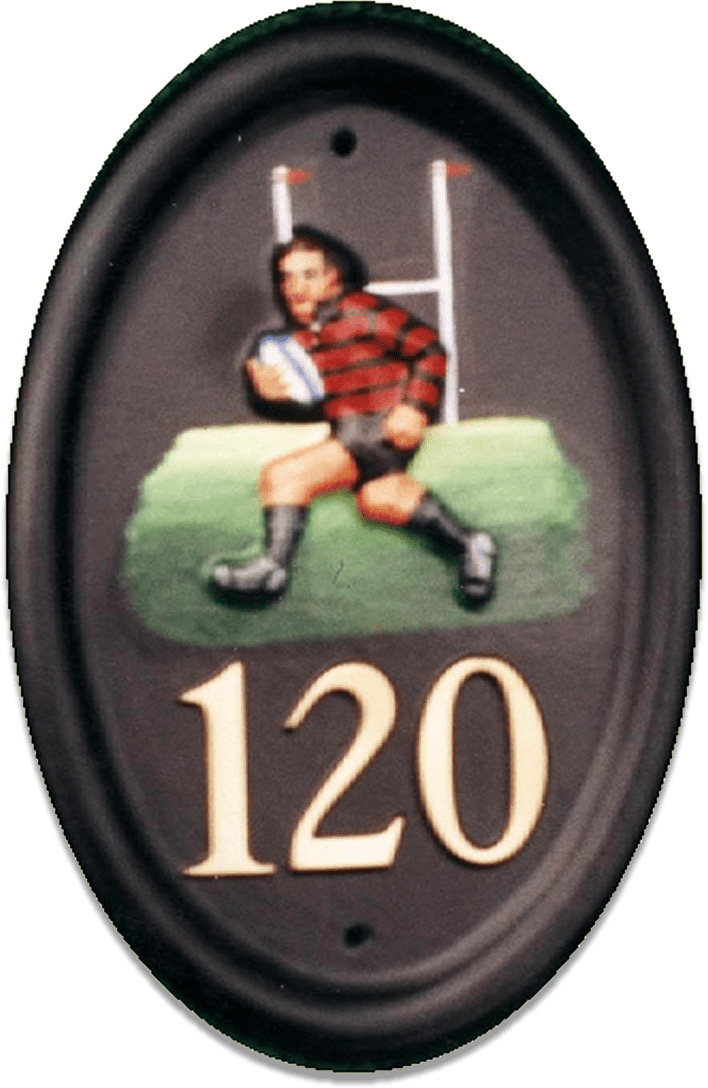 Rugby Player house sign