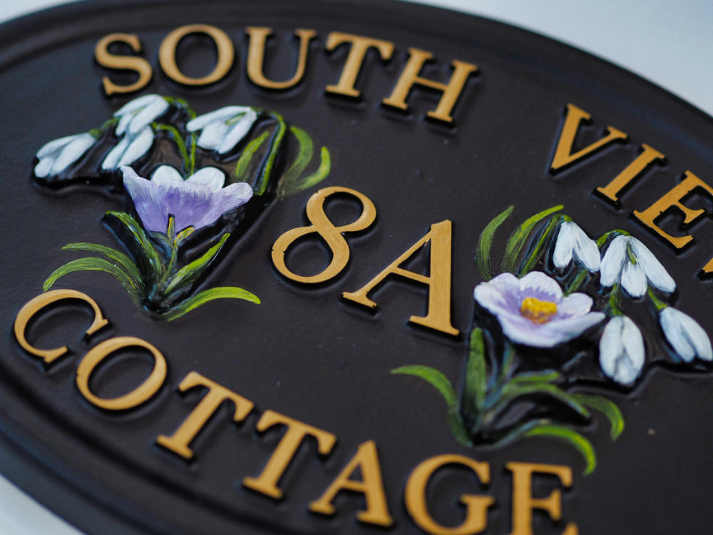 Crocus & Snowdrops close-up. house sign
