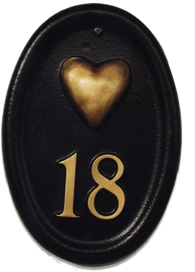 Gold Heart house sign