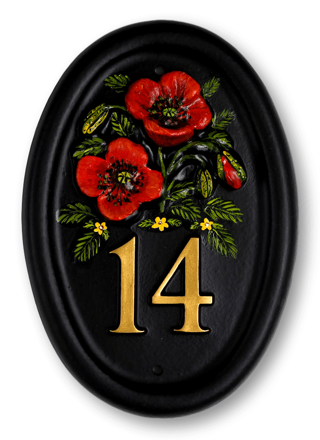 Poppies house sign