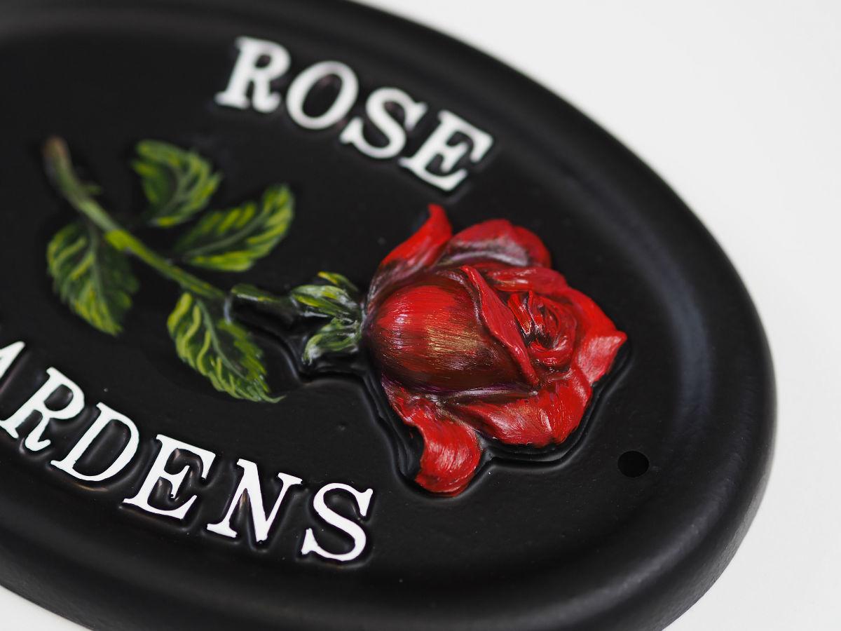 Rose Single Close Up house sign