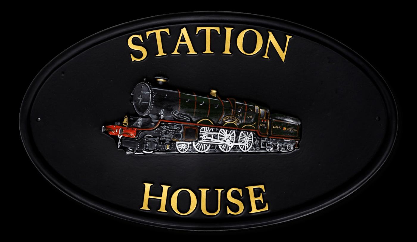 Train house sign