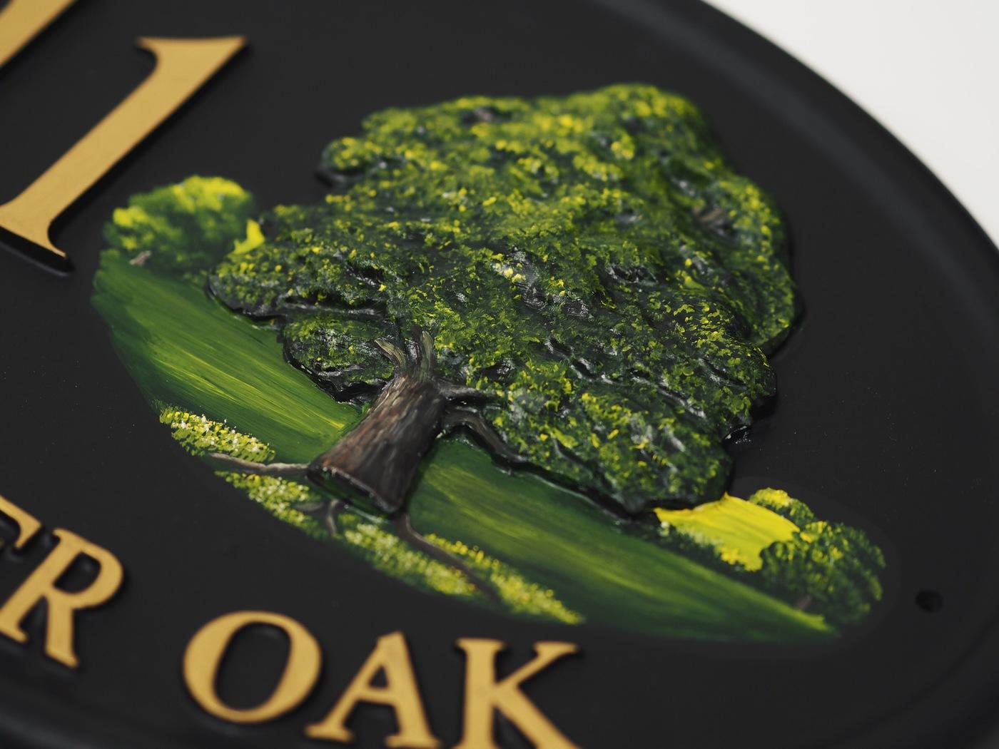 Oak Close Up house sign