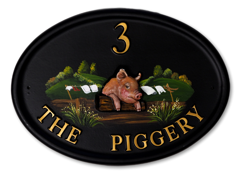 Pig On Fence house sign