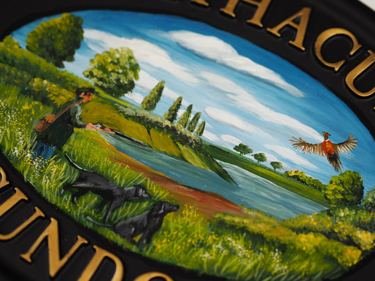 Shooting Scene & Labradors Flat Painted Close Up house sign