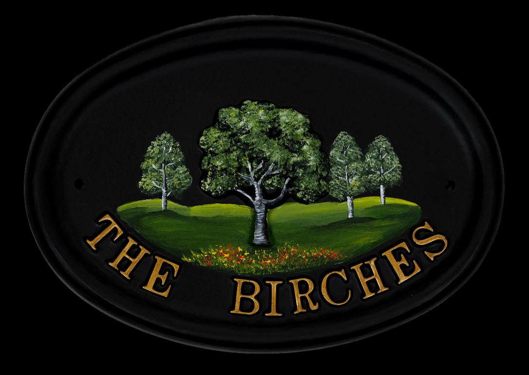 Birch house sign