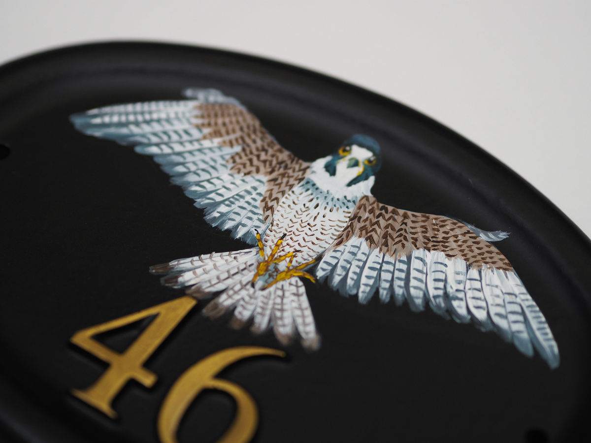 Peregrine Falcon Flat Painted Close Up house sign
