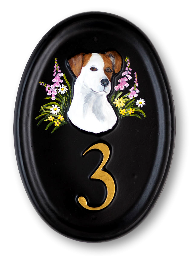 Jack Russell Head house sign
