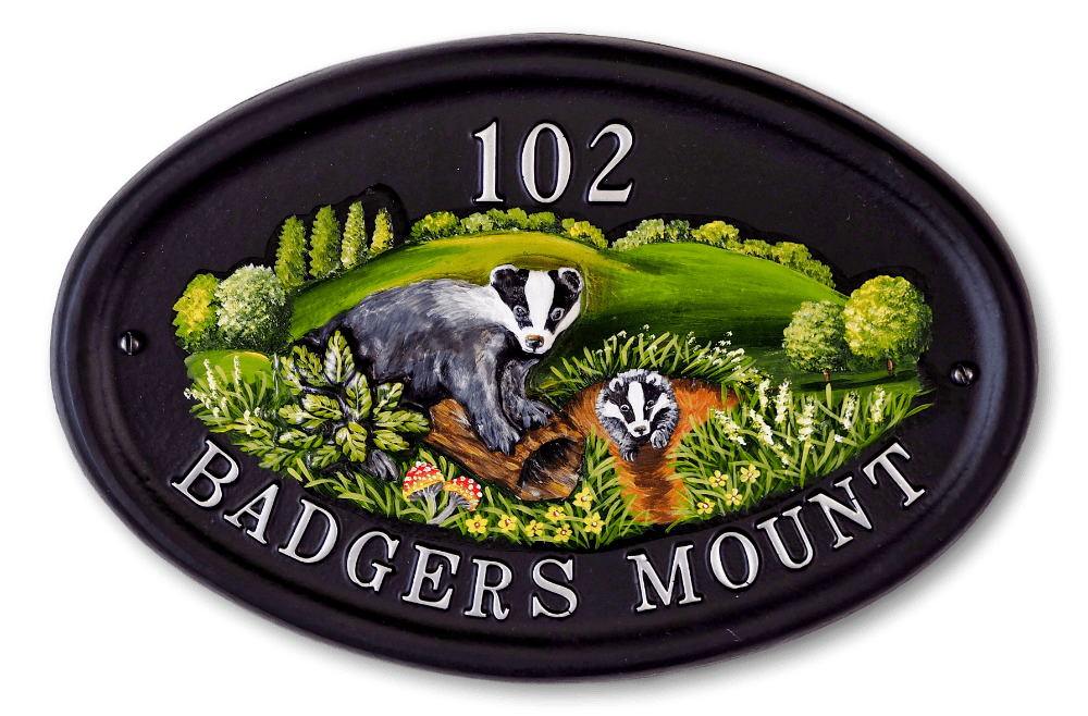 Badger & Flat Painted Badger house sign