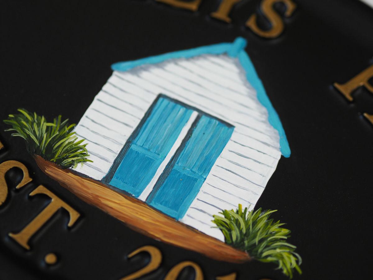 Beach Hut Close Up house sign