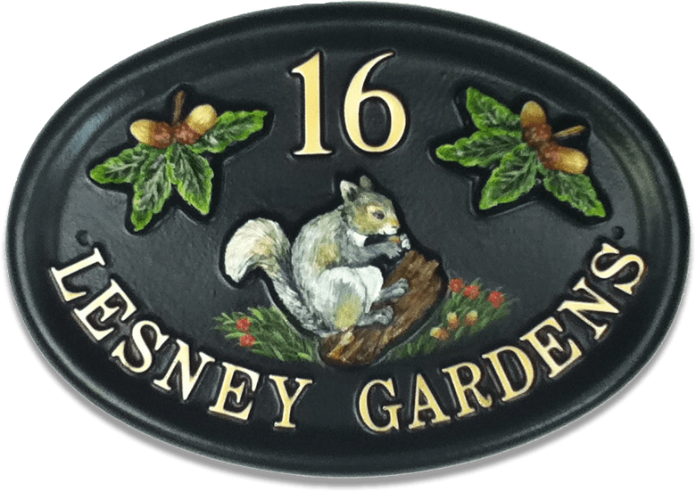 Squirrel Grey house sign