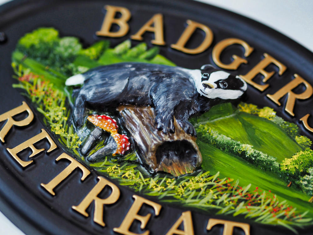 Badger close-up. house sign