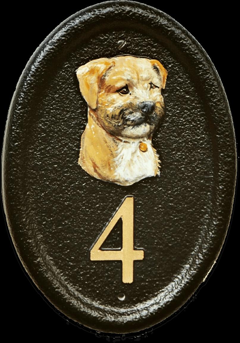 Border Terrier Head house sign