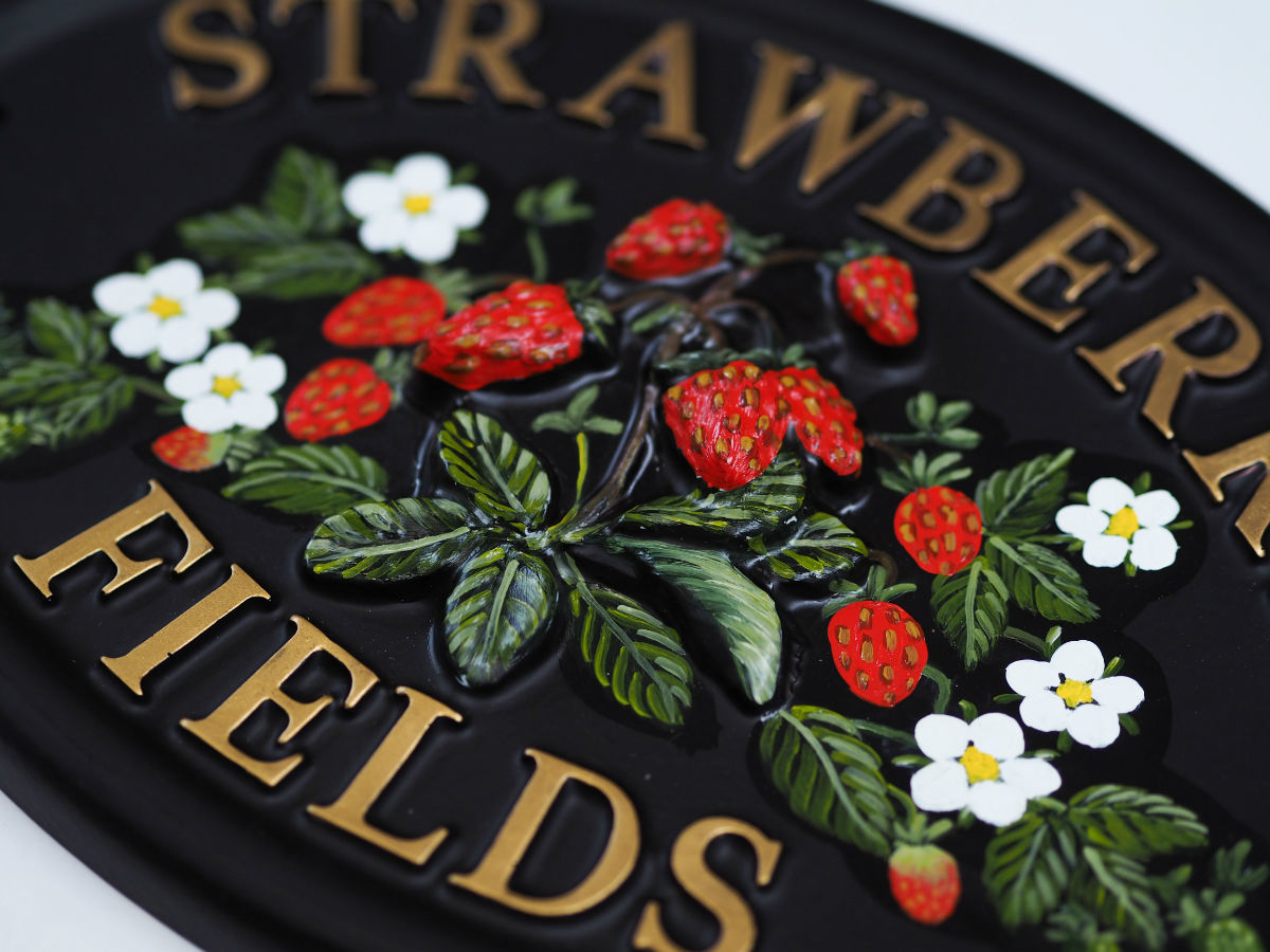 Strawberries Close Up house sign