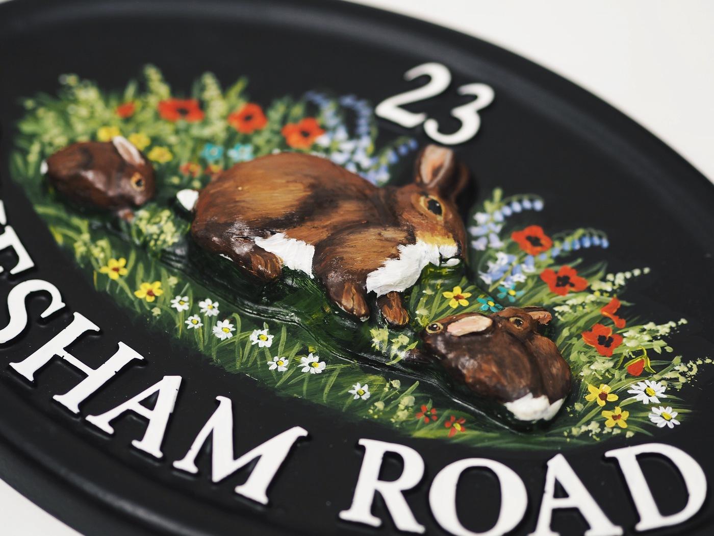 Rabbits Close Up house sign