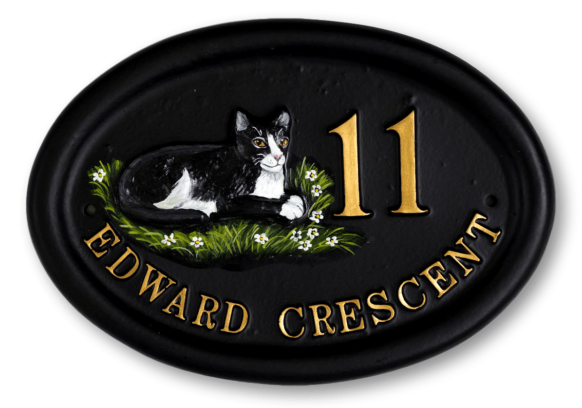 Cat Laying Split Layout house sign