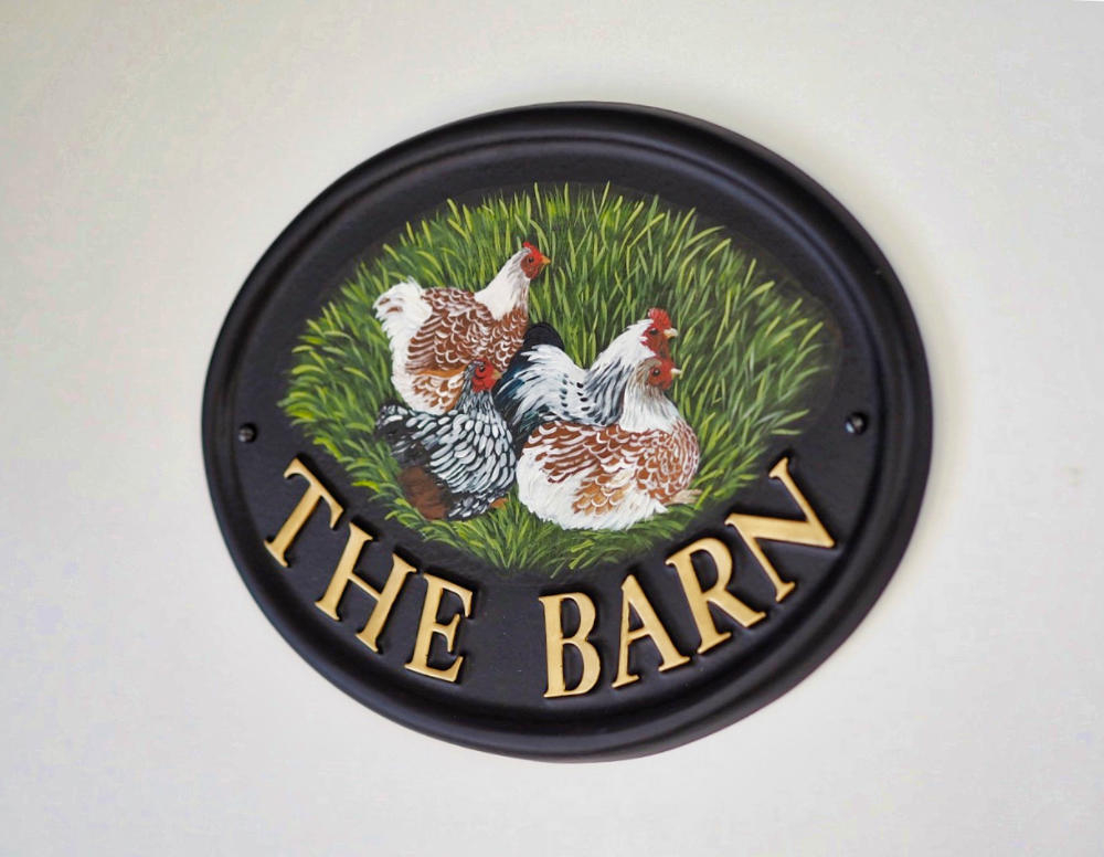 Hens Flat Painted close-up. house sign