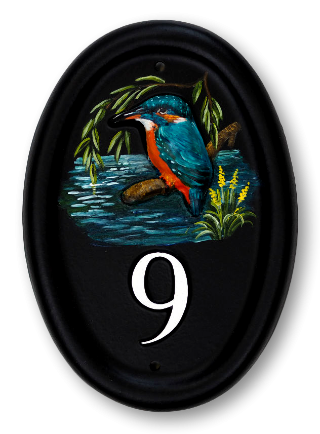 Kingfisher Portrait house sign