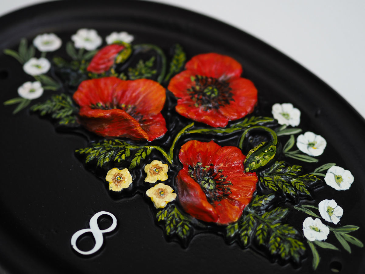 Poppies Close Up house sign