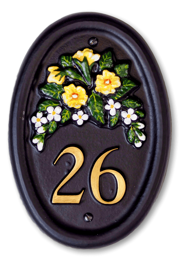 Primrose & Small Flowers house sign