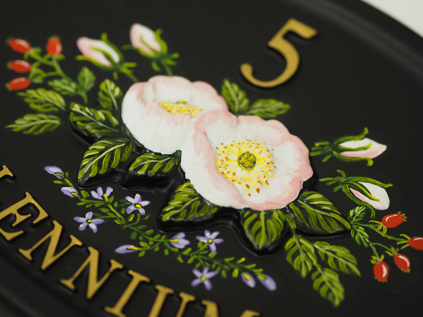Wild Roses Close Up house sign