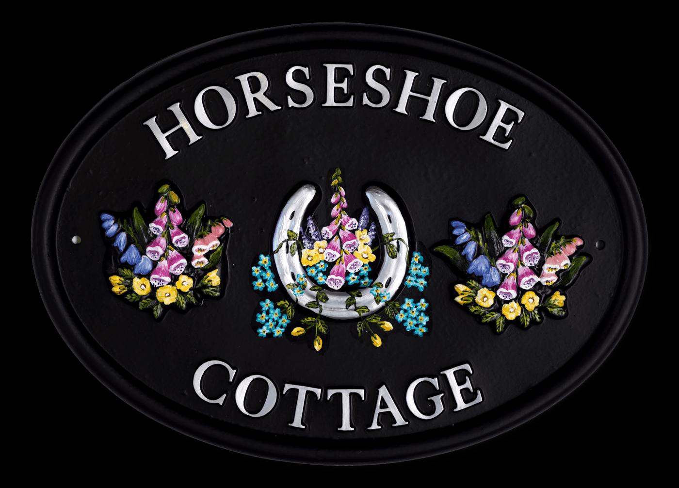 Horseshoe & Flowers house sign