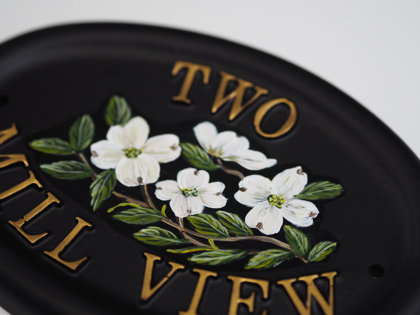 Dogwood Flat Painted Close Up house sign