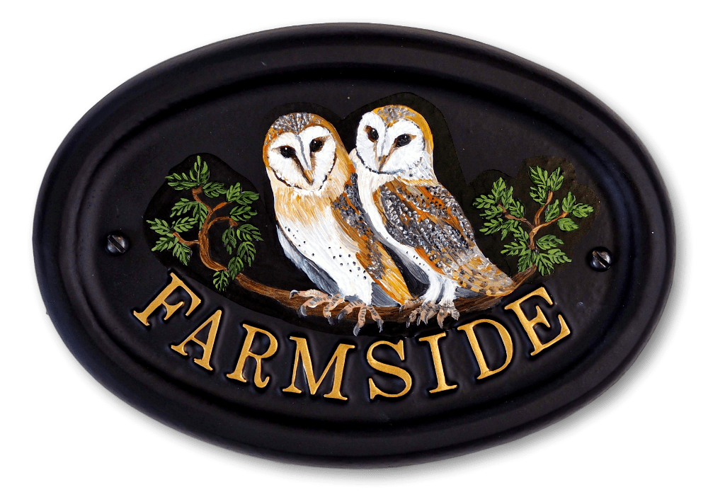 Owls Flat Painted house sign