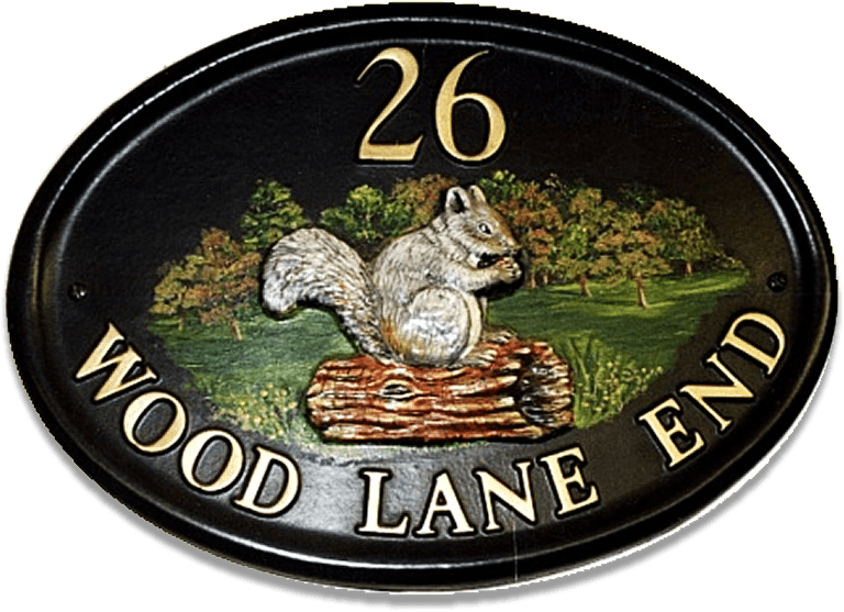Squirrel Grey On Log house sign
