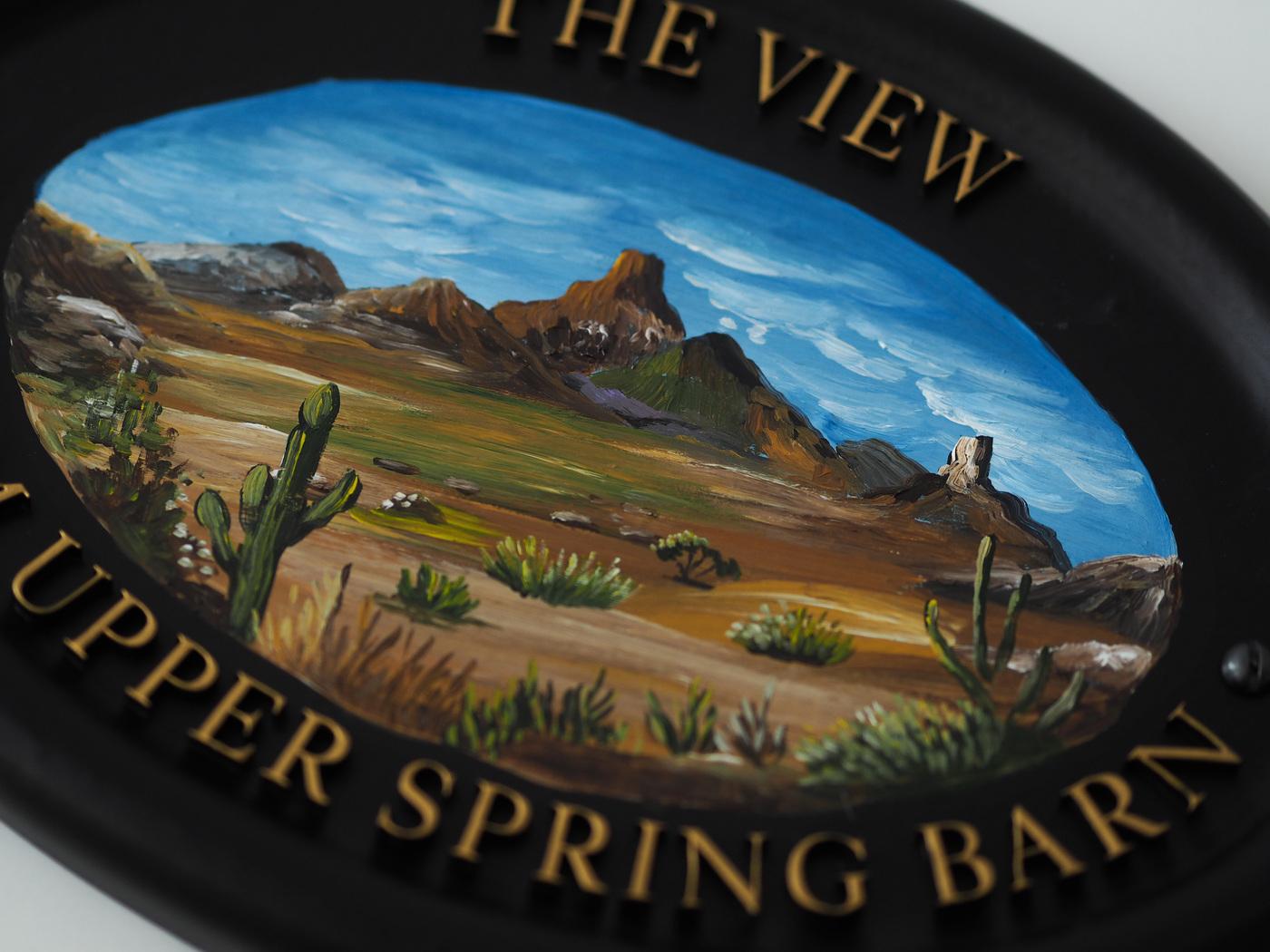 Desert Scene close-up. house sign