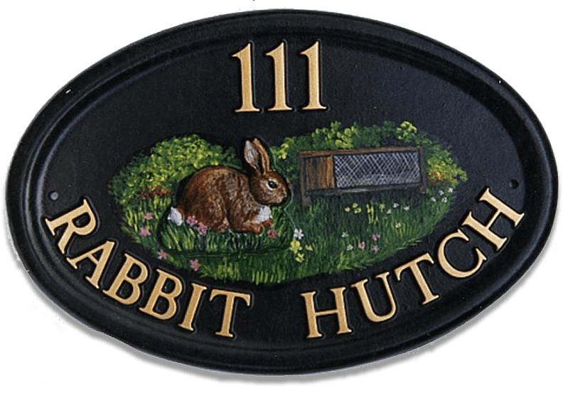 Rabbit And Hutch house sign